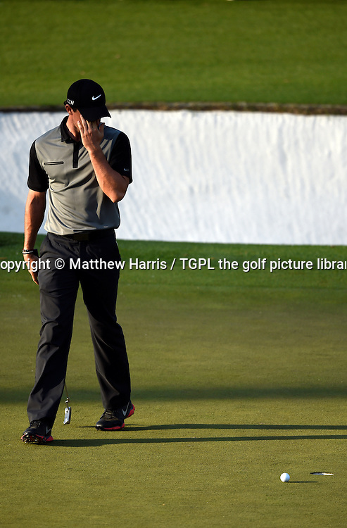 Rory MCILROY (NIR) misses birdie putt at 15th par 5 during second round US Masters 2014,Augusta National,Augusta, Georgia,USA.