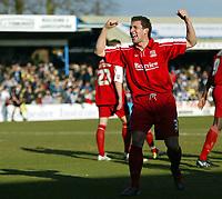 Photo: Chris Ratcliffe.<br />Colchester United v Southend United. Coca Cola League 1. 04/03/2006.<br />Che Wilson celebrates scoring Southend's third goal.