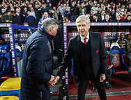 Crystal Palace's Sam Allardyce shakes hands with Arsenal's Arsene Wenger during the Premier League match at Selhurst Park Stadium, London. Picture date: April 10th, 2017. Pic credit should read: David Klein/Sportimage