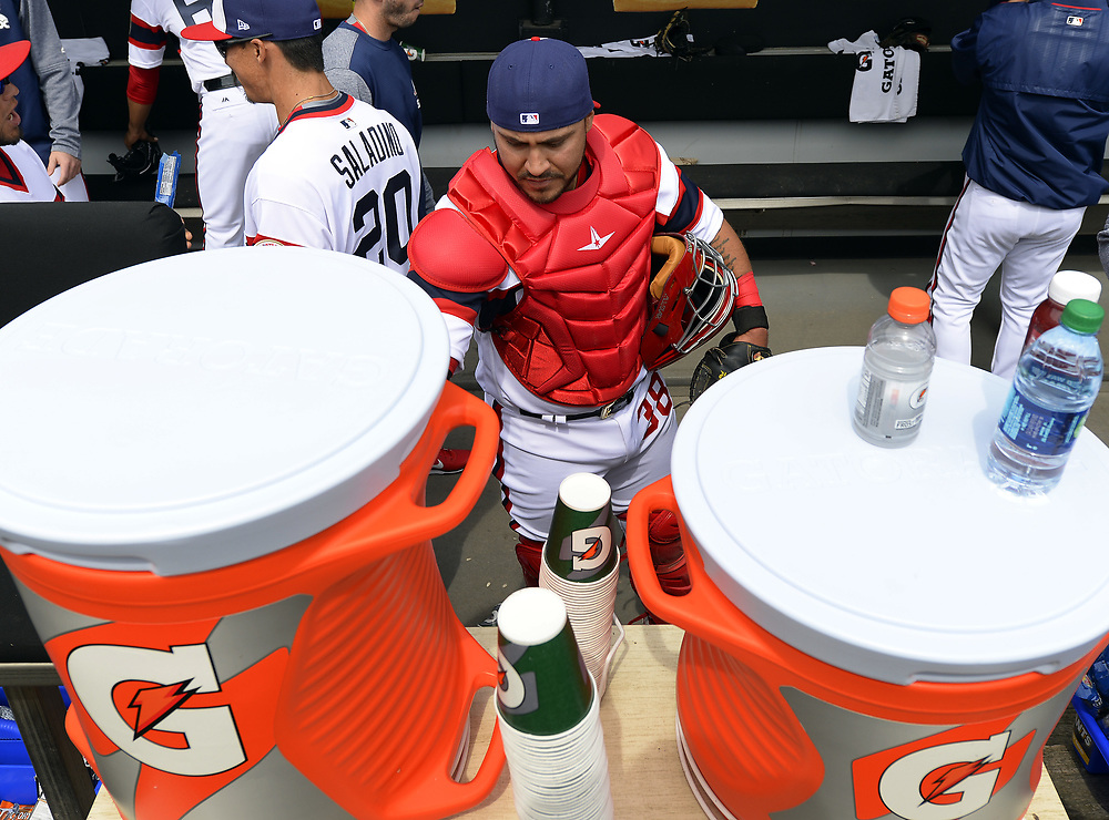 CHICAGO - APRIL 09:  Catcher Omar Narvaez #38 of the Chicago White Sox drinks Gatorade prior to the game against the Minnesota Twins on April 9, 2017 at Guaranteed Rate Field in Chicago, Illinois.  (Photo by Ron Vesely)   Subject:  Omar Narvaez