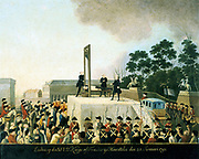 Execution by guillotine of Louis XVI of France, 21 January 1793.  Louis lying bound on guillotine waiting for blade to fall and decapitate him. Basket ready to receive his head. Oil on copper. Carnavalet, Paris.