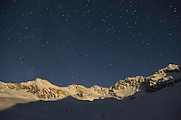 15.11.2008.Alpine landscape at night with clear sky and moonlight..Gran Paradiso National Park, Italy