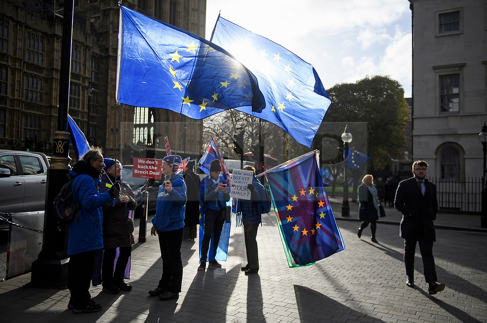 © Licensed to London News Pictures. 14/01/2019. London, UK. Pro EU anti Brexit campaigners gather outside the Houses of Parliament in London the day before MPs vote of British Prime Minister Theresa May's deal on leaving the EU. Photo credit: Ben Cawthra/LNP