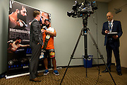 Johny Hendricks is interviewed in the American Airlines after winning the UFC Welterweight Championship belt at UFC 171 in Dallas, Texas on March 15, 2014.