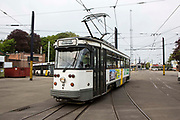 A Belgium tram travels on the Ghent tram network run by De Lijn Ghent city, Belgium.