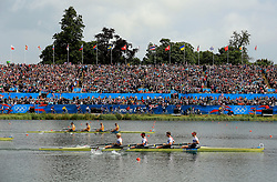 File photo dated 04-08-2012 of Great Britain's Men's Four of (foreground, left to right) Andrew Triggs Hodge, Tom James, Pete Reed and Alex Gregory lead the crew of Australia to go on and win gold