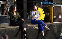 Berlin, 07.09.2021: Pankow, Minna-Flake-Platz, Wahlkampfveranstaltung von BÜNDNIS 90/DIE GRÜNEN anlässlich des Weltbildungstages mit der Grünen-Kanzlerkandidatin Annalena Baerbock und Bettina Jarasch, Kandidatin der Berliner Grünen für das Amt der Regierenden Bürgermeisterin von Berlin.