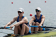 Poznan, POLAND, 21st June 2019, Friday, Morning Heats, USA. W2-/1 (b) KALMOE Megan and EISSER Tracy, FISA World Rowing Cup II, Malta Lake Course, © Peter SPURRIER/Intersport Images,<br /> <br /> 10:02:01