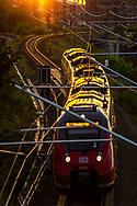 A passenger train runs through Berlin to its destination, Berlin 2017.