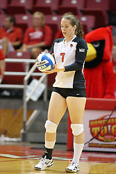 30 August 2011: Laura Wakefield during an NCAA volleyball match between the Cougars of Southern Illinois Edwardsville and the Illinois State Redbirds at Redbird Arena in Normal Illinois.