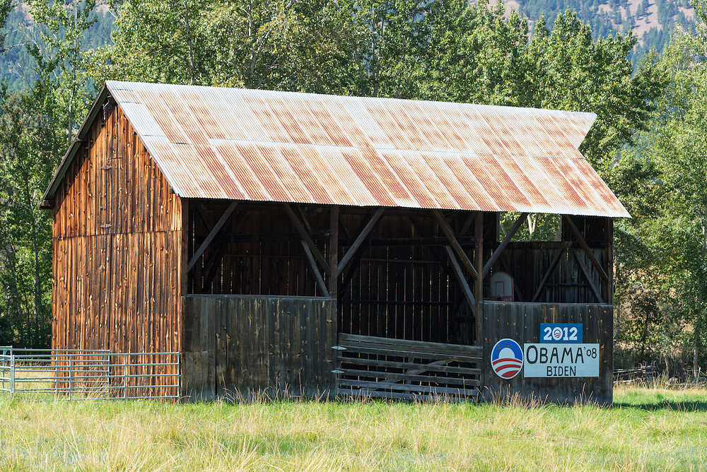 Barn with Obama and Biden campaign signs, Wallowa Valley, Oregon.