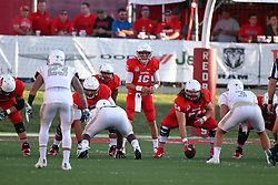 03 September 2016:  Jake Kolbe lines up in the shotgun behind center Mark Spelman. NCAA FCS Football game between Valparaiso Crusaders and Illinois State Redbirds at Hancock Stadium in Normal IL (Photo by Alan Look)