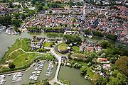 Nederland, Noord-Holland, Weesp, 25-05-2010. Centrum van Weesp, met fort Ossenmarkt, jachthaven, rivier de Vecht.luchtfoto (toeslag), aerial photo (additional fee required).foto/photo Siebe Swart