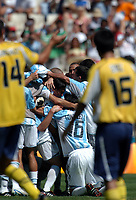 28/08/04 - ATHENS - GREECE -  - OLYMPIC FOOTBALL - FINAL MATCH - MENS  -  <br />ARGENTINA (1) Vs. PARAGUAY (0) At the Olympic Stadium in Athens. Argentine win the goal medal<br />Argentine players celebration after finish the match.<br />In time that Paraguay N*14 JULIO GONZALEZ and N*15 ERNESTO CRISALDO going out from the pitch.<br />© Gabriel Piko / Argenpress.com / Piko-Press