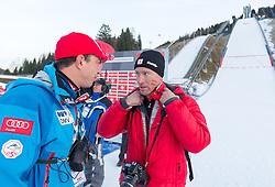 01.01.2014, Olympiaschanze, Garmisch Partenkirchen, GER, FIS Ski Sprung Weltcup, 62. Vierschanzentournee, Bewerb, im Bild Cheftrainer Alexander Pointner (AUT) mit Gernot Diethart // Cheftrainer Alexander Pointner (AUT) with Gernot Diethart during Competition of 62nd Four Hills Tournament of FIS Ski Jumping World Cup at the Olympiaschanze, Garmisch Partenkirchen, Germany on 2014/01/01. EXPA Pictures © 2014, PhotoCredit: EXPA/ JFK