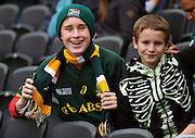 Young South African fan during the Rugby World Cup Pool B match between South Africa and USA at the Queen Elizabeth II Olympic Park, London, United Kingdom on 7 October 2015. Photo by Matthew Redman.