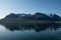 Reflection of mt. Ahkka massif from lake Akkajaure, Lapland, Sweden