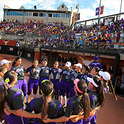 The Weslaco softball team comes together before the start of their UIL Class 6A State Softball semi-final against Pearland at Red & Charline McCombs Field in Austin. <br /> Nathan Lambrecht/The Monitor