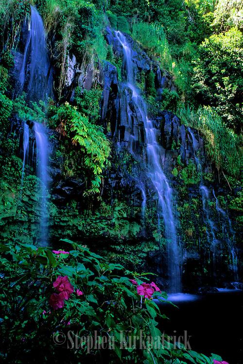 "Waterfall, pool and impatiens at the ""Blue Hole"" near Hana, Maui."