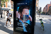 Advert for a clothing company selling the perfect face mask on 25th June 2020 in London, England, United Kingdom. As the July deadline approaces and government will relax its lockdown rules further, the West End remains quiet, while some non-essential shops are allowed to open with individual shops setting up social distancing systems.
