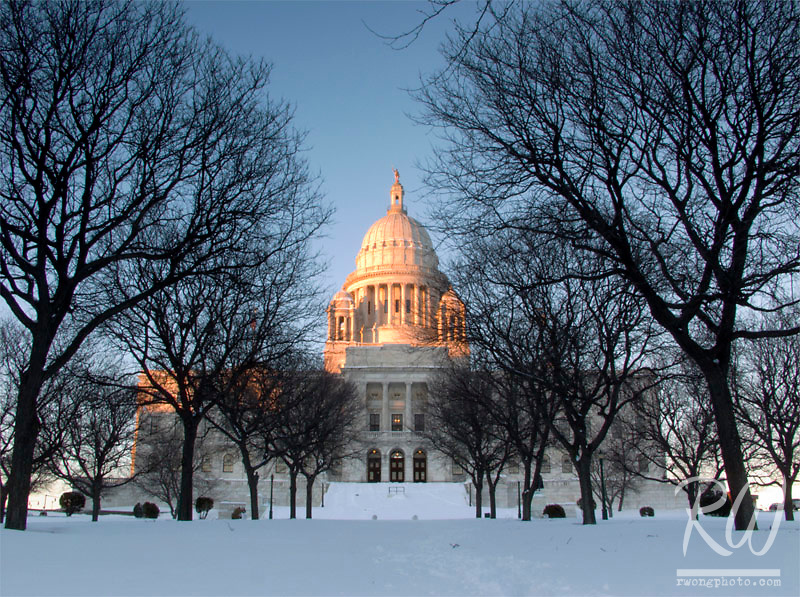 Sunset Alpenglow on Rhode Island State Capitol, Providence, Rhode Island