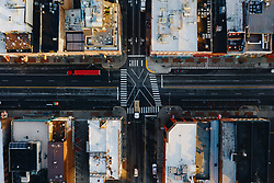Nashville, Tennessee aerial image of Broadway looking straight down.