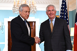 May 5, 2017 - Washington, DC, United States of America - U.S. Secretary of State Rex Tillerson greets Chilean Foreign Minister Heraldo Munoz Valenzuela before bilateral talks at the State Department May 5, 2017 in Washington, D.C. (Credit Image: © Glen Johnson/Planet Pix via ZUMA Wire)