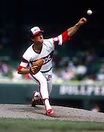 CHICAGO - 1986:  Floyd Bannister #19 of the Chicago White Sox pitches during an MLB game at Comiskey Park in Chicago, Illinois.  Bannister played for the White Sox from 1983-1987. (Photo by Ron Vesely)