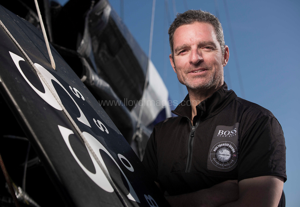Pictures of offshore sailor Pepe Ribes (ESP) onboard the new Hugo Boss IMOCA Open 60 training in the Solent. UK<br /> Credit - Lloyd Images