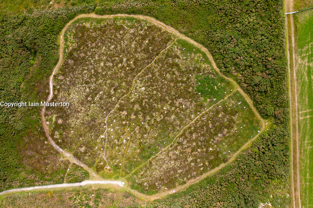 Aerial view from drone  of the Hill 'O Many Stanes archaeological site in Mid Clyth, Wick, Caithness, Scotland, UK