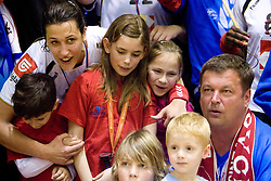 Andrea Lekic of Krim with fans at last 10th Round handball match of Slovenian Women National Championships between RK Krim Mercator and RK Olimpija, on May 15, 2010, in Galjevica, Ljubljana, Slovenia. Olimpija defeated Krim 39-36, but Krim became Slovenian National Champion. (Photo by Vid Ponikvar / Sportida)