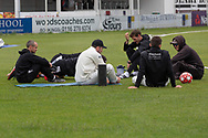 Gloucester debrief during a rain break during the Specsavers County Champ Div 2 match between Leicestershire County Cricket Club and Gloucestershire County Cricket Club at the Fischer County Ground, Grace Road, Leicester, United Kingdom on 18 June 2019.