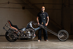 Aki Sakamoto with his Hogkillers custom 1940 Harley-Davidson ULH Flathead in a heavily modified frame at the Handbuilt Show. Austin, TX. USA. Friday April 20, 2018. Photography ©2018 Michael Lichter.