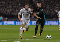 Football - 2017 / 2018 UEFA Champions League - Group H: Tottenham Hotspur vs. Real Madrid<br /> <br /> Toby Alderweireld (Tottenham FC)  forces his way past Casemiro (Real Madrid) just before he is injured and taken off at Wembley Stadium.<br /> <br /> COLORSPORT/DANIEL BEARHAM
