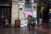 A Rainy day outside Whitechapel underground station, London, UK.