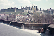 View of hilltop castle medieval citadel Carcassonne, France c 1960  fortified city department of Aude, region of Occitanie