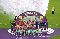 Barcelona's Vicky Losada lifts the trophy after victory in the UEFA Women's Champions League final, at Gamla Ullevi, Gothenburg. Picture date: Sunday May 16, 2021.