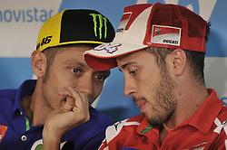 September 22, 2017 - Alcaniz, Spain - Valentino Rossi (Movistar Yamaha MotoGP) and Andrea Dovizioso (Ducati Team)  during press conference of Aragon Motogp (Credit Image: © Gaetano Piazzolla/Pacific Press via ZUMA Wire)