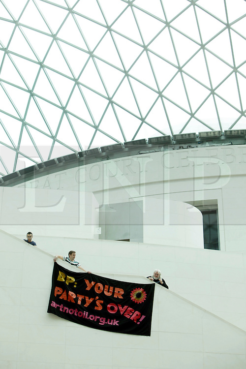 13/09/2015. British Museum, London.<br /> Art Not Oil, a coalition of various artist, acting and music organisation, staged multiple protests in the main courtyard and exhibition rooms of the British Museum. The coalition is protesting against corporate oil sponsorship of the arts in Britain and includes Liberate Tate, BP Out of Opera, Shell Out Sounds. <br /> Photo/Anna Branthwaite/LNP