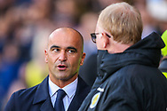 Belgium manager Roberto Mart?nez chats to Scotland manager Alex McLeish ahead of the International Friendly match between Scotland and Belgium at Hampden Park, Glasgow, United Kingdom on 7 September 2018.