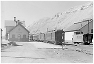 """D&RGW San Juan waiting to be turned at Durango depot.<br /> D&RGW  Durango, CO  Taken by Small, Charles S. - 1941<br /> In book """"Durango: Always a Railroad Town (1st ed.)"""" page 33"""