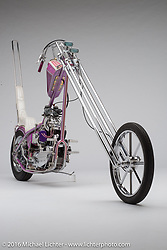 """The Glam Fairy"", a pink and purple 1965 Ironhead Sportster chopper built by Eric Allard of FNA Custom Cycles in Lakeland, FL. Photographed by Michael Lichter in Sturgis, SD on August 5, 2016. ©2016 Michael Lichter."