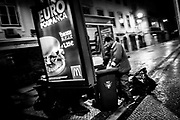 A homeless man is seen searching a garbage container looking for food in a touristic area of downtown Lisbon where overpriced restaurants for tourists are located and which most locals can't afford. The minimum salary in Portugal is 485 euros bruto. With rising taxes on food and electricity and food, access to health, housing and basic living conditions are at jeopardy.