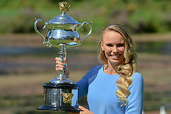 January 28, 2018: The 2018 Australian Open Women's Champion Caroline Wozniacki of Denmark poses for photographs with her trophy at the Botanical Gardens in Melbourne, Australia. Sydney Low/Cal Sport Media(Credit Image: © Sydney Low/CSM via ZUMA Wire)