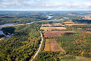 Image from a flight over Columbia County near Portage, Wisconsin on a beautiful autumn day, with the Wisconsin River in the background.
