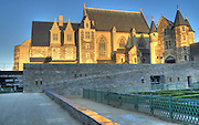 The 15th-century chapel at the Château d'Angers is a castle in the city of Angers in the Loire Valley, in the département of Maine-et-Loire, in France. Founded in the 9th century by the Counts of Anjou, was expanded to its current size in the 13th century. It is located on a rocky ridge overhanging the river Maine.