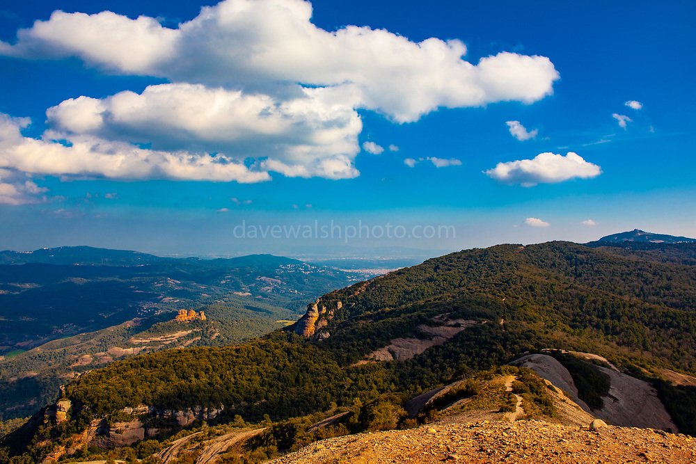 View from the 1056 metre high mountain of Montcau, in the Parc Natural Sant Llorenc del Munt massif, near Barcelona, Catalonia.