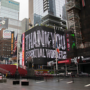 A digital billboard thanks essential workers in Times Square due to the Coronavirus (Covid-19) outbreak in New York City, New York on Friday, May 8, 2020.  (Alex Menendez via AP)