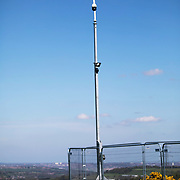 A CCTV camera on the hill side in Pont Valley. Day of protest in Pont Valley 5 may 2018 against the extraction of coal by the mining company Banks outside Dipton in Pont Valley, County Durham. Locals have fought the open cast coal mine for thirty years and three times the local council rejected planning permissions but central government has overruled that decision and the company Banks was granted the license and rights to extract coal in early 2018. Locals have teamed up with climate campaigners and together they try to prevent the mining from going ahead. The mining will have huge implications on the local environment and further coal extraction runs agains the Paris climate agreement. A rare species of crested newt live on the land planned for mining and protectors are trying to stop the mine to save the newt.