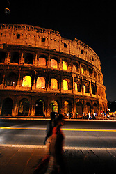 """17.09.2010, Coliseum, Rom, ITA, Coliseum on Fire, .A virtual fire burn the Colosseum up. .Installation of Danish Thyra Hilden and Argentinean Pio Diaz..""""Colosseo in fiamme"""".Video installazione dell'artista danese Thyra Hilden e dell'Argentino Pio Diaz.. EXPA Pictures © 2010, PhotoCredit: EXPA/ InsideFoto/ Andrea Staccioli +++++ ATTENTION - FOR USE IN AUSTRIA / AUT AND SLOVENIA / SLO ONLY +++++"""